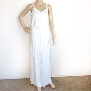 TART White Leg Slit tie Waist Boho Maxi Dress